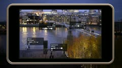A smart phone video display showing augmented reality. Stock Footage