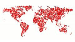 Map of the world made by appearing people. Stock Footage