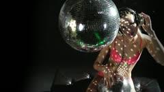 blonde girl disco dance studio shot - stock footage
