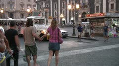Couple, tourist train, Catania. Stock Footage