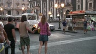 Stock Video Footage of Couple, tourist train, Catania.