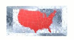 Map of the US frozen in a block of ice. Stock Footage