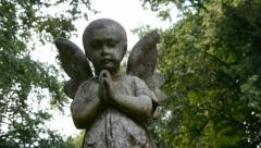 Memorial cherub - Camera move. Stock Footage