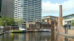 Gas Street canal basin in the centre of Birmingham, England. Stock Footage