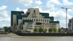 The headquarters building of the UK Secret Intelligence Service. Stock Footage