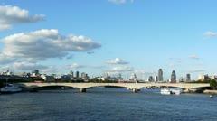 Stock Video Footage of Waterloo Bridge across the Thames in London.