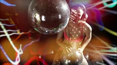 Girl dance discoball Stock Footage