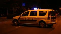 Police Car Blocks Traffic Stock Footage