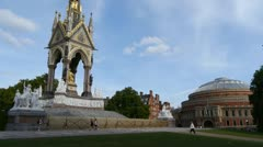 Stock Video Footage of The Albert Memorial with the Royal Albert Hall in the background.