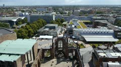 View from the spire of Coventry's old cathedral. - stock footage