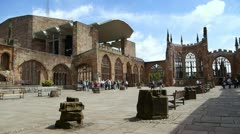 The bombed-out ruins of Coventry's old cathedral. Stock Footage