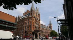 Facade of the St. Pancras Renaissance London Hotel. Stock Footage