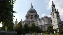 The south side and dome of Saint Paul's cathedral in London, England. Stock Footage