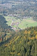 german alps with villages - stock photo