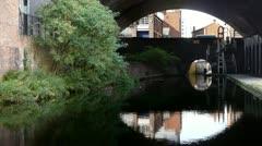 Birmingham and Fazeley Canal looking toward Snow Hill railway bridge. Stock Footage