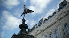 Statue of Eros in Piccadily Circus, London. Stock Footage
