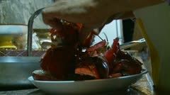 Italian sea food & pasta cooking (6) Stock Footage