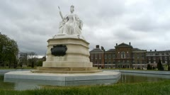 Kensington Palace, Victoria monument, and garden in London. Stock Footage