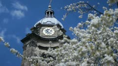Baroque style clock tower of Saint Phillip's Cathedral in Birmingham, England. - stock footage