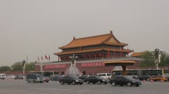 Timelapse Fast motion of Forbidden city and car traffic, Beijing, China Stock Footage