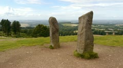 Standing stones on a hilltop in England. Stock Footage