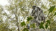 Statue of William Shakespeare in Leicester Square, London. - stock footage
