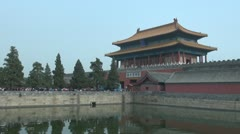 Fast motion of the Gate of Divine Might at Forbidden City, Beijing, China Stock Footage