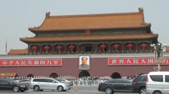 Fast motion of Forbidden city and car traffic, Beijing, China - stock footage