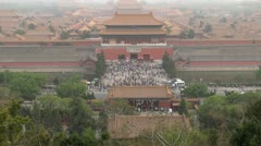 Timelapse Fast motion of Aerial view of Forbidden City in fog, Beijing, China Stock Footage