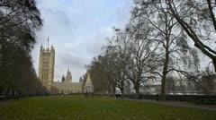 Palace of Westminster, seen from the Victoria Tower Gardens. Stock Footage