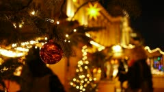 Shoppers at an open-air market at christmas. Stock Footage
