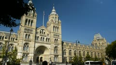The main entrance of the Natural History museum in London. Stock Footage