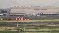 Stock Video Footage of Time Lapse of Mexico City International Airport Terminal Two runways