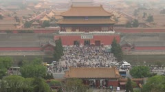 Timelapse Fast motion of Aerial view Gate of Divine Might,Forbidden City,Beijing Stock Footage