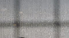 Hieroglyphics on a tomb in the British Museum. Stock Footage