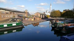 90 Farmer's Bridge Top Lock and Cambrian Wharf, Birmingham. - stock footage