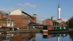 Farmer's Bridge Top Lock and Cambrian Wharf, Birmingham. - stock footage