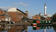 Stock Video Footage of Farmer's Bridge Top Lock and Cambrian Wharf, Birmingham.