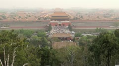 Timelapse of Aerial view of Forbidden City in fog, Beijing, China Stock Footage