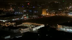 Timelapse Fast motion of The State Mosque of Qatar and Doha city by night Stock Footage