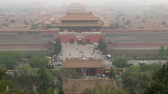 Fast motion of Aerial view of Forbidden City in fog, Beijing, China Stock Footage