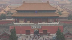 Timelapse Fast motion Aerial view Gate of Divine Might,Forbidden City,Beijing Stock Footage