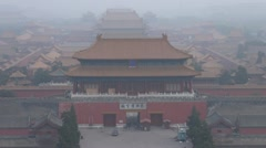 Fast motion of Aerial view of the Gate of Divine Might,Forbidden City,Beijing Stock Footage