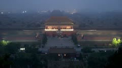 Fast motion of Aerial view of Forbidden City in twilight, Beijing, China Stock Footage