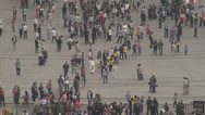 Stock Video Footage of Fast motion of aerial view of people walking group crowded tourist commuter