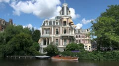 Amsterdam large house on a canal Stock Footage