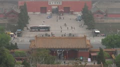 Timelapse of Aerial view of the Gate of Divine Might,Forbidden City,Beijing Stock Footage