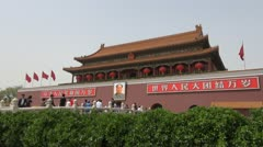 Timelapse Fast motion of The Heaven Peace Gate at Forbidden City, Beijing, China Stock Footage