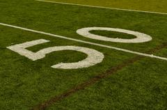 fake grass fifty yard line - stock photo