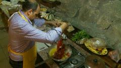 Italian sea food & pasta cooking (1) Stock Footage